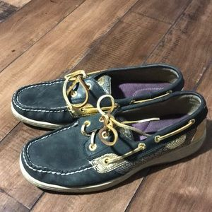 Sperry Black and gold boat shoes